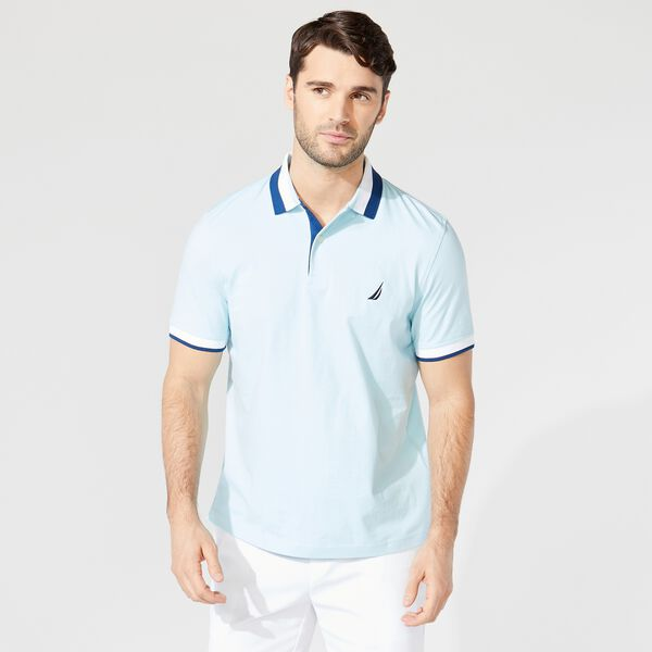 CLASSIC FIT PREMIUM COTTON STRIPE COLLAR POLO - Light Tide Water Wash
