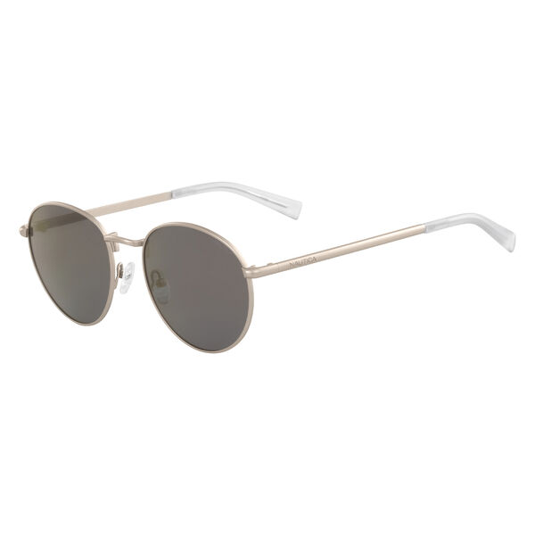 Round Sunglasses with Matte Frame - Silver
