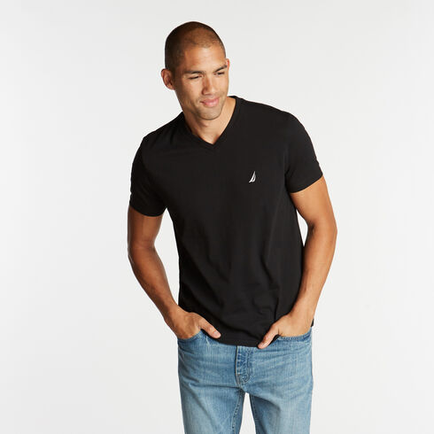V-Neck Short Sleeve Slim Fit T-Shirt - True Black