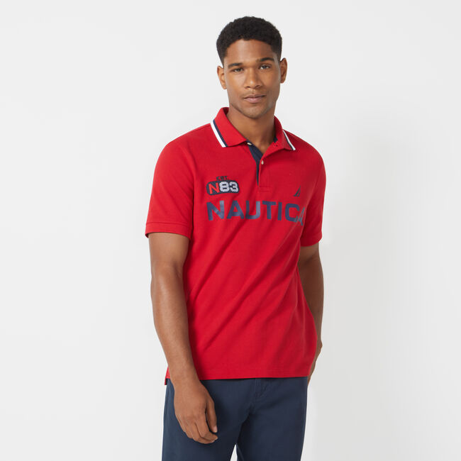 CLASSIC FIT LOGO PERFORMANCE POLO,Nautica Red,large