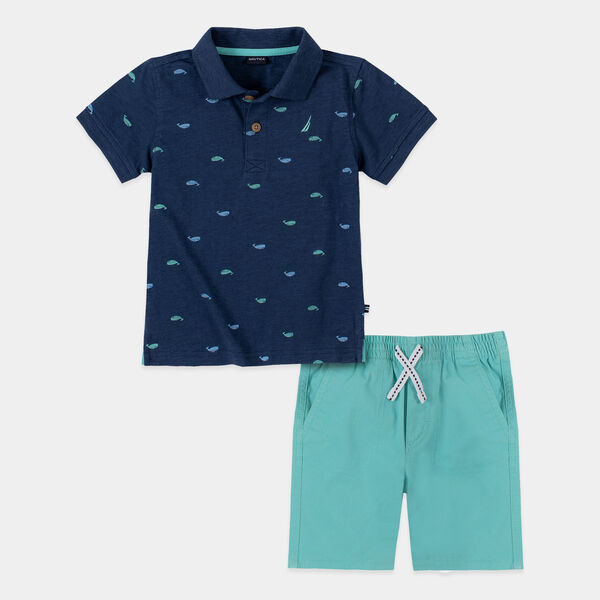 TODDLER BOYS' WHALE PRINT POLO 2PC SHORT SET (2T-4T) - Ocean Blue