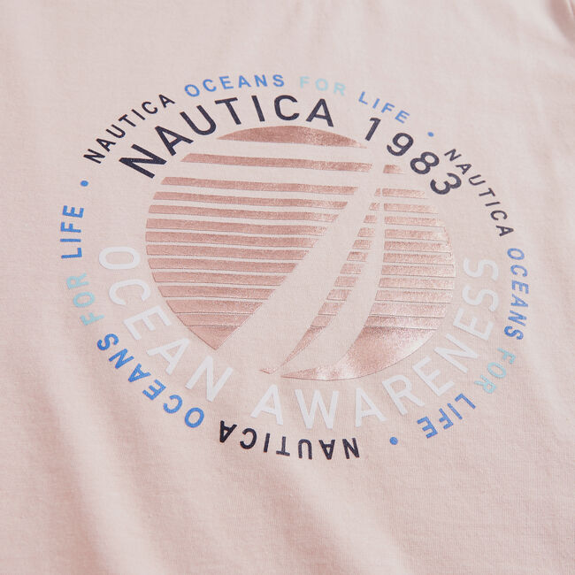 SUSTAINABLY CRAFTED OCEAN AWARENESS GRAPHIC T-SHIRT,New Pink,large