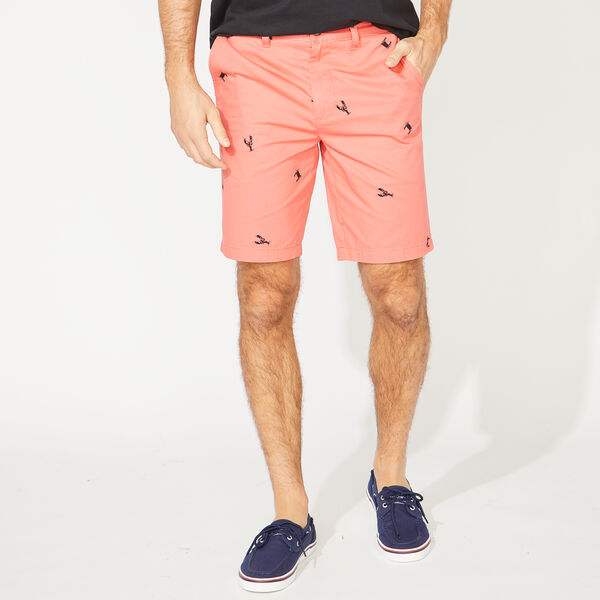 SLIM FIT SEA LIFE PRINT SHORTS - Spiced Coral