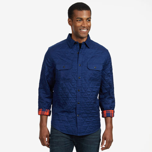 Quilted Plaid Twill Classic Fit Long Sleeve Shirt - Orange Poppy