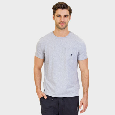 Short Sleeve Solid Pocket T-Shirt - Grey Heather