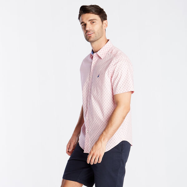 96448f8ed4 CLASSIC FIT SHORT SLEEVE OXFORD SHIRT IN DIZZY ANCHOR PRINT - Orchid Pink