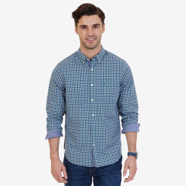Plaid Stretch Classic Fit Button-Down Shirt,Army Green,large