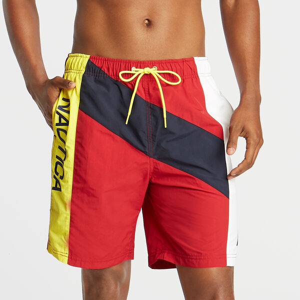 "8"" DIAGONAL PIECED SWIM TRUNK - Nautica Red"