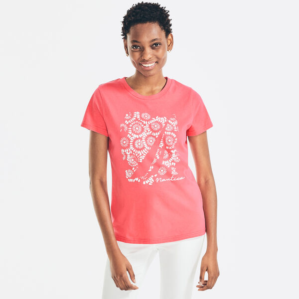 PUFF-EMBROIDERED GRAPHIC T-SHIRT - Cradle Pink