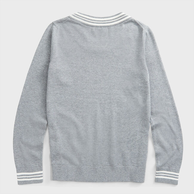 SUSTAINABLY CRAFTED STRIPE TRIM SWEATER,Quarry Heather,large