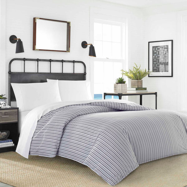 Coleridge Stripe Full/Queen Duvet and Sheet Set - Navy Dusk