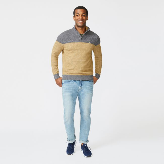 SUSTAINABLY CRAFTED COLORBLOCK SWEATER,Dark Brown,large