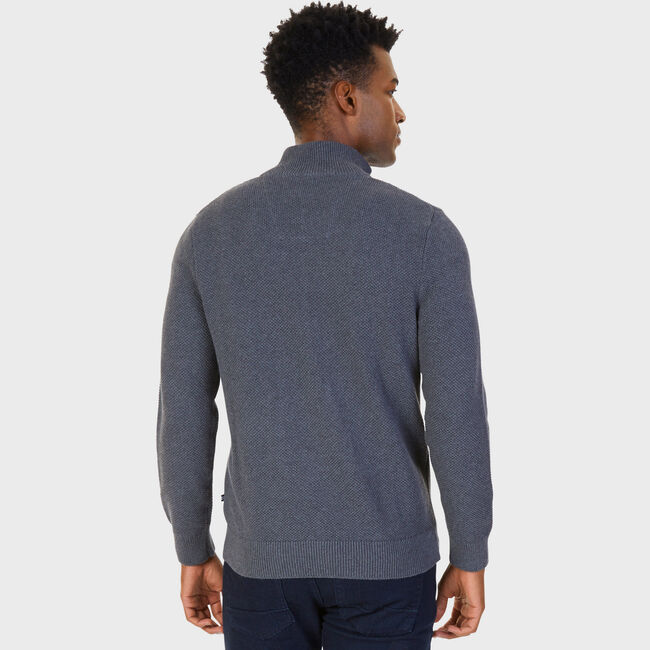 Full-Zip Mock-Neck Sweater,Charcoal Hthr,large