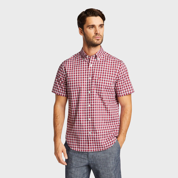 Classic Fit Short Sleeve Shirt in Plaid - Bright White
