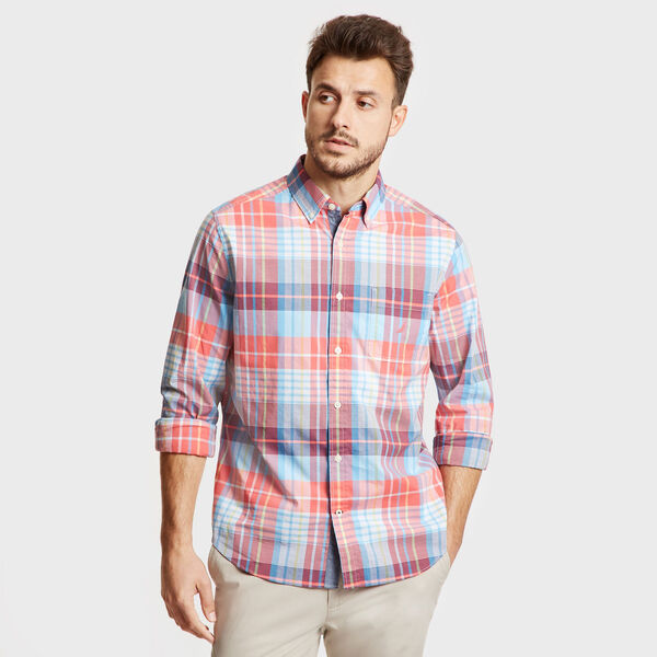 Classic Fit Long Sleeve Shirt in Casual Plaid - Spiced Coral
