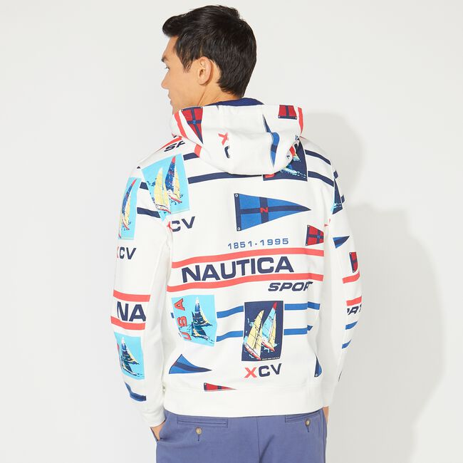CLASSIC FIT PRINTED PULLOVER HOODIE,Sail White,large