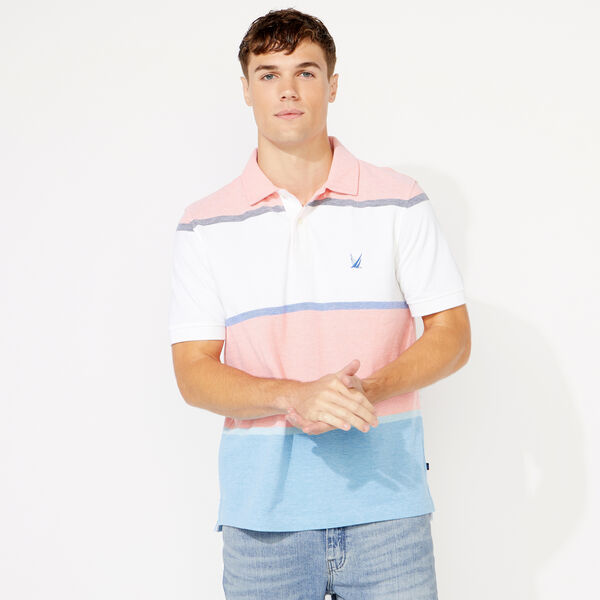 CLASSIC FIT COLORBLOCK STRIPE POLO - Livng Coral