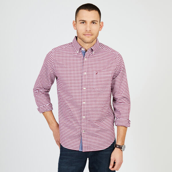 Gingham Classic Fit Oxford Long Sleeve Shirt - Downhill Red