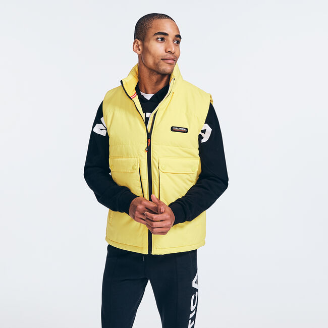 COMPETITION COLORBLOCK PUFFER VEST,Old Gold,large