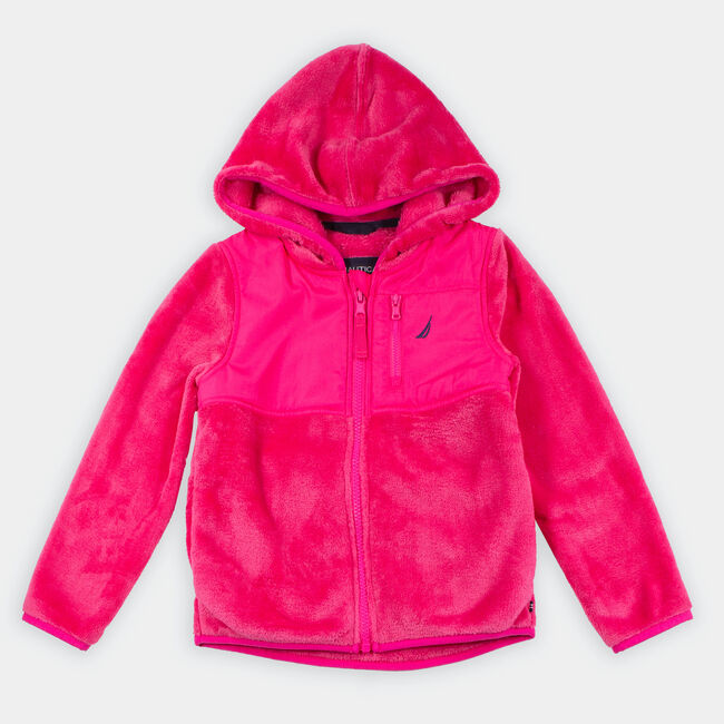 LITTLE GIRLS' FAUX-FUR NAUTEX HOODED JACKET (4-7),Lure Red,large