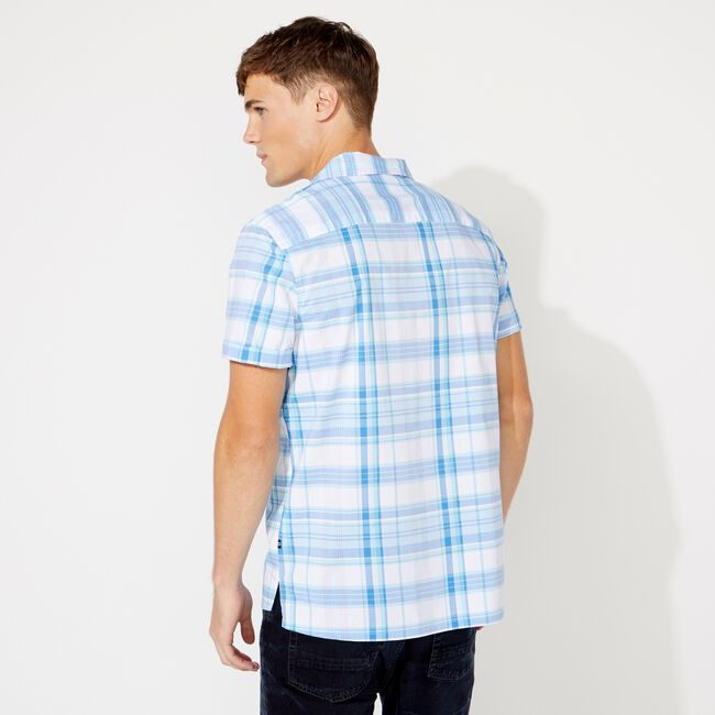 PLAID SHORT SLEEVE SHIRT,Clear Sky Blue,large