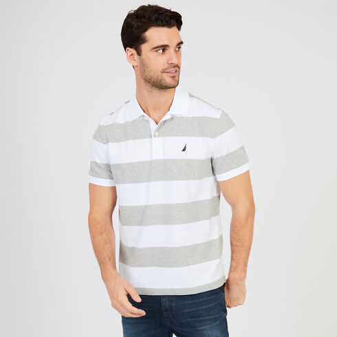 Short Sleeve Wide Stripe Classic Fit Polo - Bright White