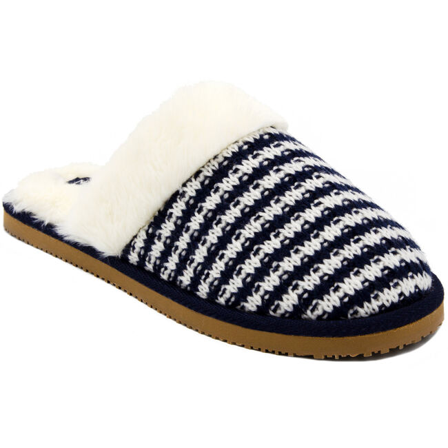 Women's Claxton Striped Slippers,Navy,large