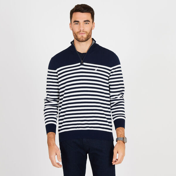 Big & Tall Mock-Neck Breton Stripe Sweater - Pure Dark Pacific Wash