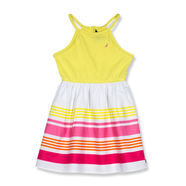 Little Girls' Halter Dress With Striped Skirt (4-6X),Yellow (nrma Code),large