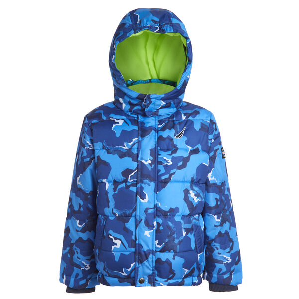 TODDLER BOYS' WATER-RESISTANT CAMOUFLAGE BUBBLE COAT (2T-4T) - Bright Cobalt