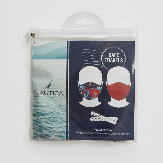FLORAL AND SOLID REUSABLE FACE MASK KIT WITH EXTENDERS, 2 PACK,Ice Blue,large