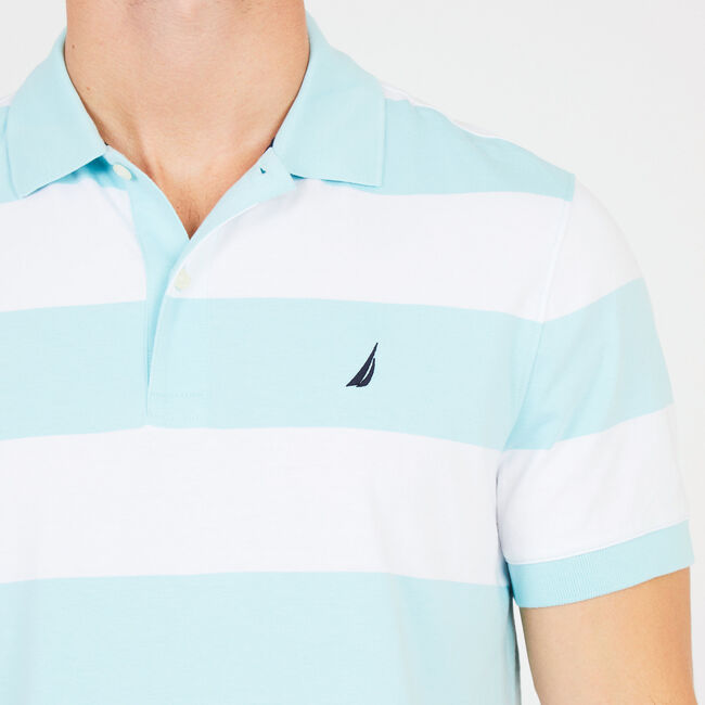 Short Sleeve Wide Stripe Classic Fit Polo,Medallion Blue,large