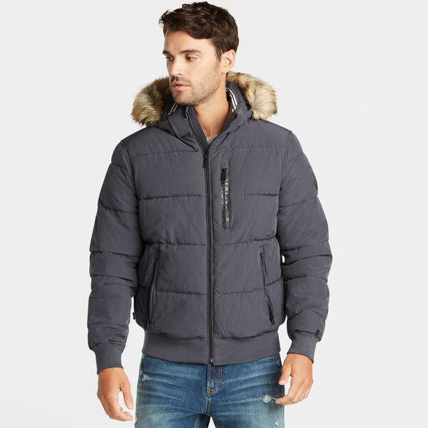 STRETCH BOMBER WITH REMOVABLE HOOD - Charcoal T