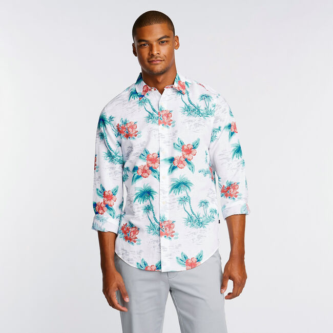 Linen Blend Shirt in Tropical Print,Bright White,large