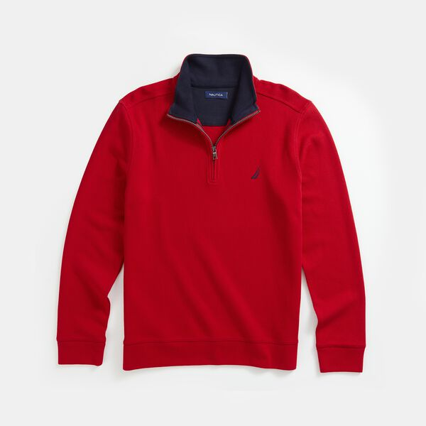 QUARTER-ZIP FRENCH RIBBED SWEATSHIRT - Nautica Red