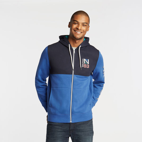 PIECED COLORBLOCK FULL ZIP HOODIE - Lake Mist