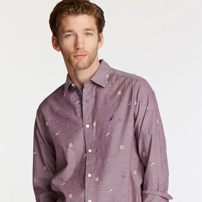 BIG & TALL SHORT SLEEVE OXFORD SHIRT IN NAUTICAL ICON PRINT,Zinfandel,large
