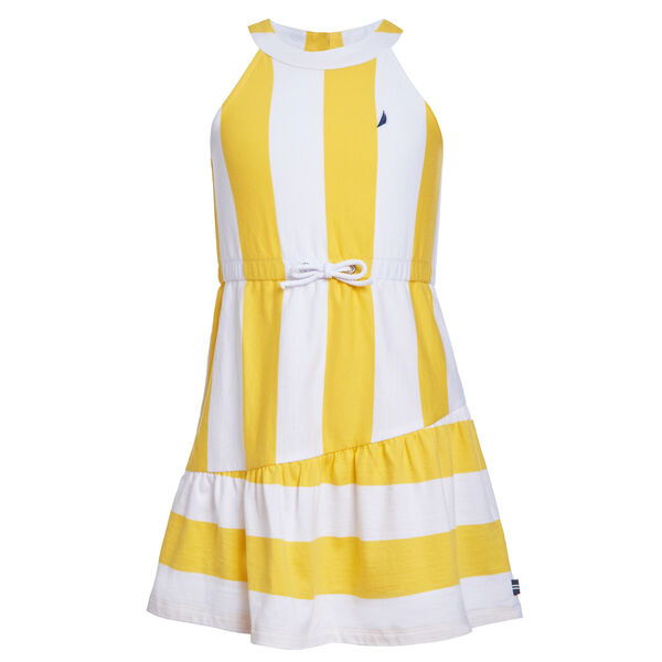 GIRLS' VERTICAL STRIPE JERSEY KNIT DRESS - Washed Banana