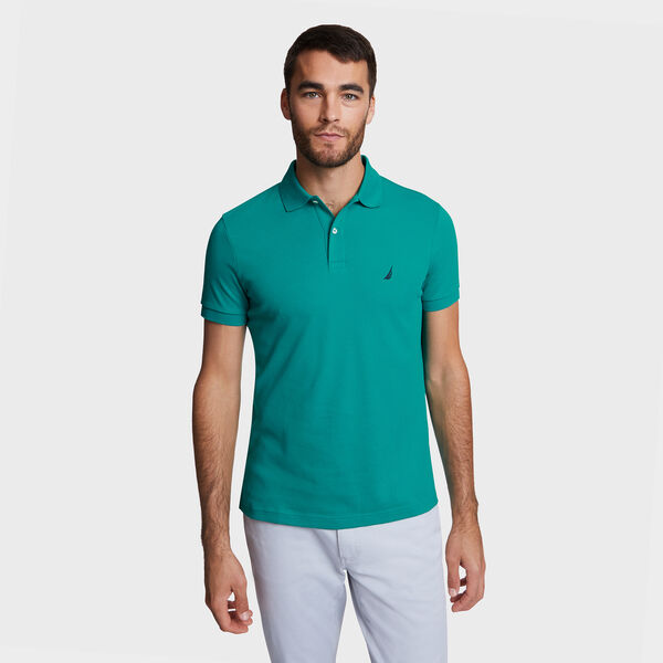 SLIM FIT INTERLOCK POLO - Biscayteal
