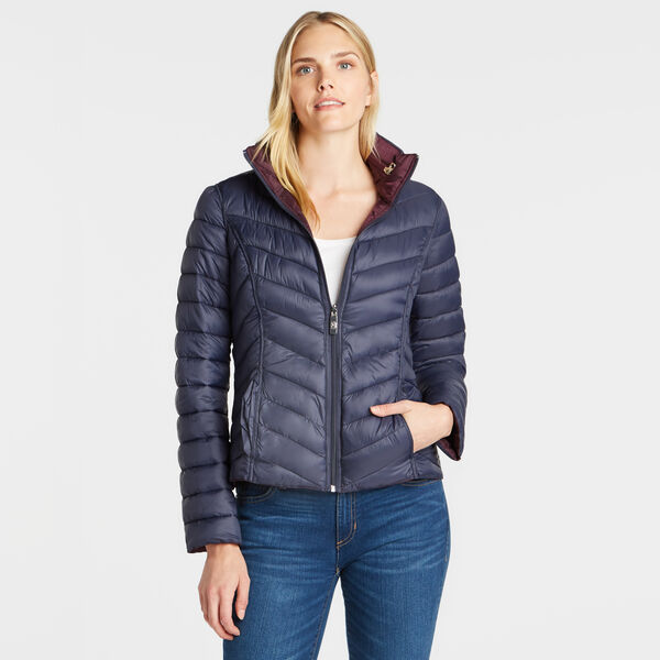 REVERSIBLE PACKABLE HOODED COAT - Raisin