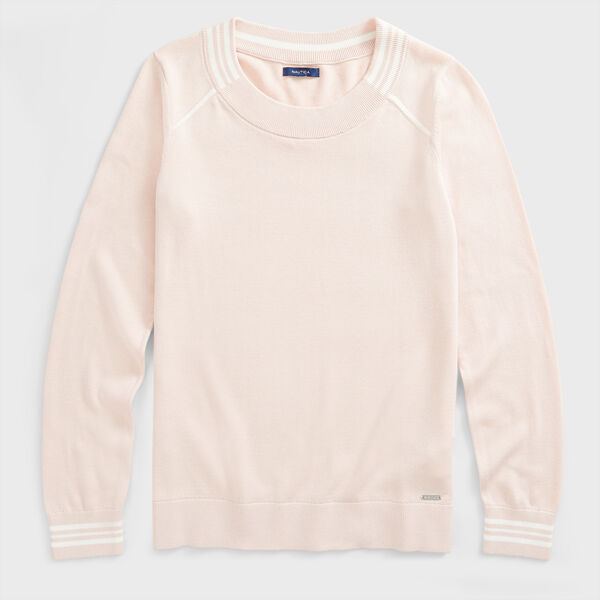 SUSTAINABLY CRAFTED STRIPE TRIM SWEATER - New Pink