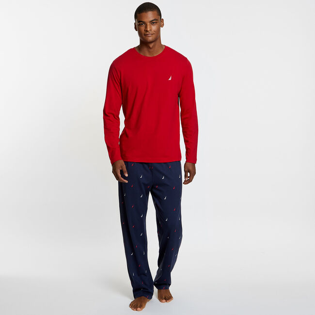 Knit + Woven Pajama Set - J-Class,Nautica Red,large