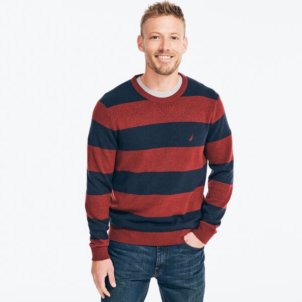 SUSTAINABLY CRAFTED STRIPED SWEATER - Flamingo