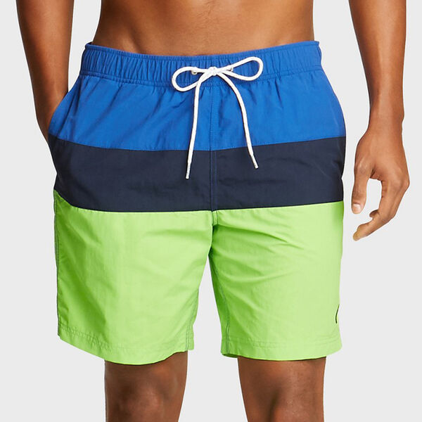 "8"" TRI-COLORBLOCK SWIM TRUNKS - Freshlime"