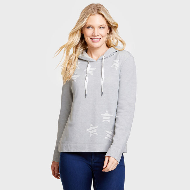 Long Sleeve Lounge Star Hoodie,Fog,large
