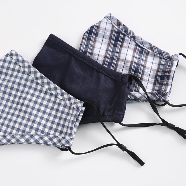 PLAID AND SOLID REUSABLE FACE MASK, 3 PACK,Multi,large