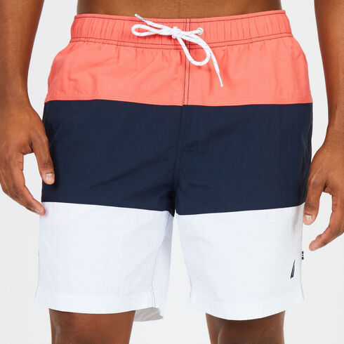 Drawstring Swim Short in Colorblock - Spiced Coral