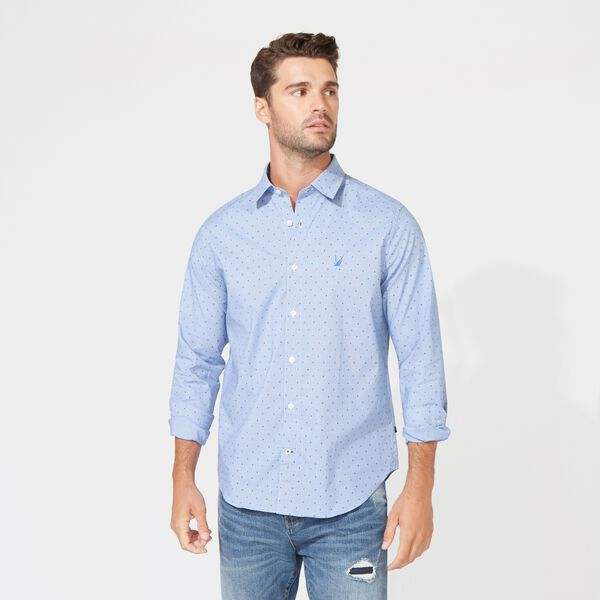 CLASSIC FIT WRINKLE-RESISTANT PLAID SHIRT - Clear Sky Blue