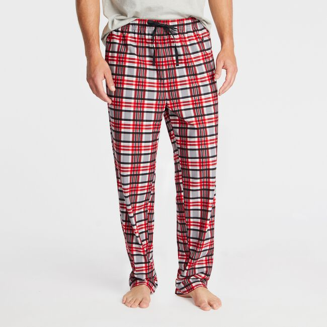 PLAID FLEECE SLEEP PANT,Nautica Red,large