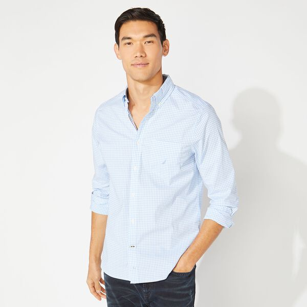 CLASSIC FIT GINGHAM POPLIN SHIRT - Azure Blue